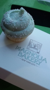 The famed Magnolia Bakery's vanilla buttercream cupcake. Yes, I set it on a garbage can to take a picture. Settle down.